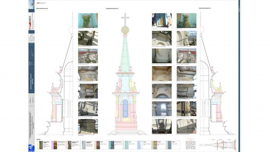 Basilica dell'Umiltà in Pistoia: Rilievo materico della lanterna