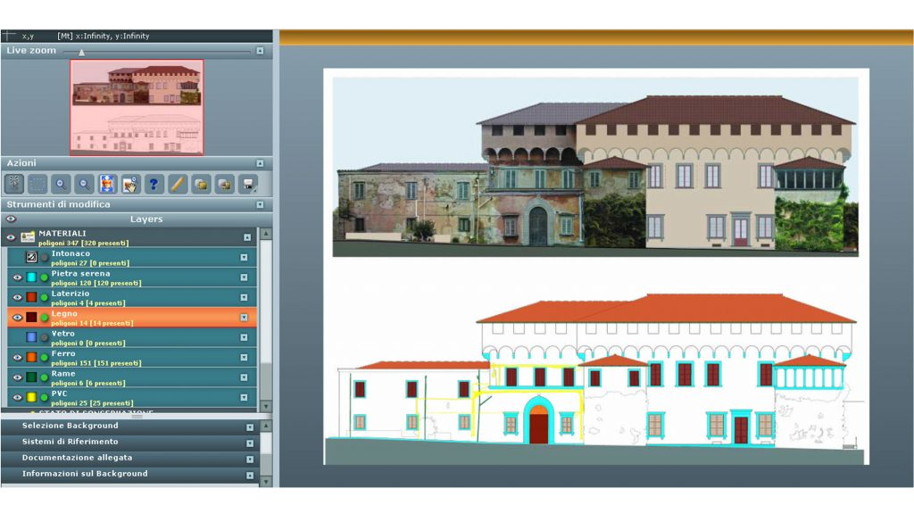 Villa Medicea di Careggi: Rilievo materico eseguito con il programma SICaR